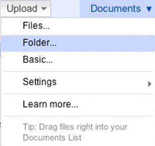 How to Upload Folders in Google Docs?