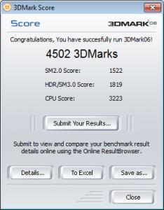 Asus K53SV 3DMark06 Intel