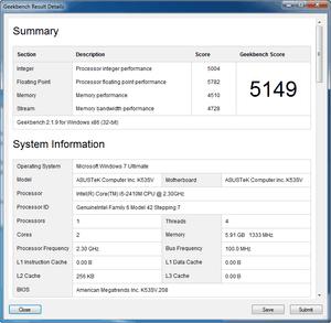 Asus K53SV GeekBench nVidia