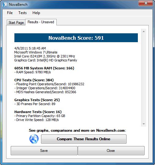 Asus K53SV NovaBench Benchmark Intel