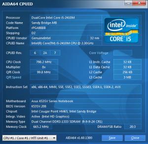 Asus K53SV CPU ID AIDA64