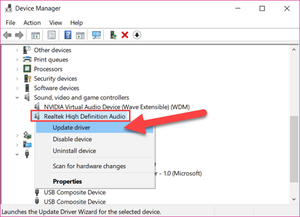 windows 10 no sound fix by updating drivers in device manager